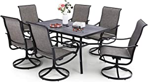Sophia & William 7 Pieces Patio Dining Set Outdoor Metal Furniture Set, 6 x Swivel Dining Chairs Textilene, 1 Metal Umbrella Table 6 Person for Lawn Garden
