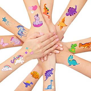 LITTLE SIENA Dinosaur Unicorn Temporary Tattoos for Kids Boys Girls Children | Birthday Decorations, Party Favors, Party Supplies - 12 Sheets