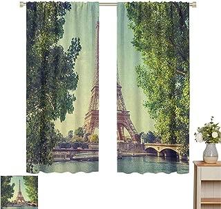 June Gissing Paris Drapes/Draperies Eiffel Tower Seine River Picture France European Landmark Image Household Darkening Curtains W55 x L72 Green Almond Green Pale Brown