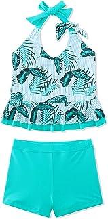 Vogseek Two Piece Swimsuit for 5-12 Years Girls Halter Neck Tankini Swimwear Rash Guard Set