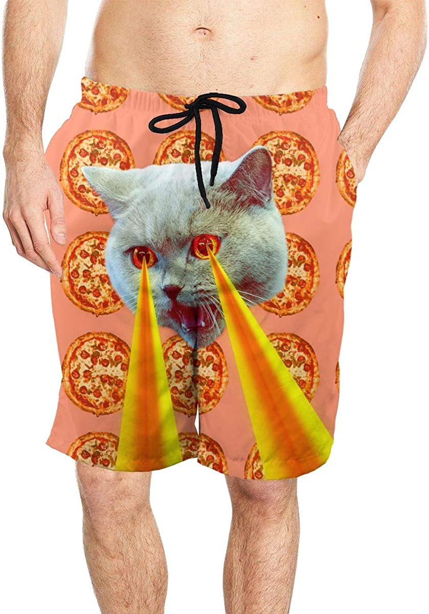 DASMUS Pizza Addict Cat with Lasers from Eyes Mens Quick Dry Beach Board Shorts Swim Trunks with Mesh Lining