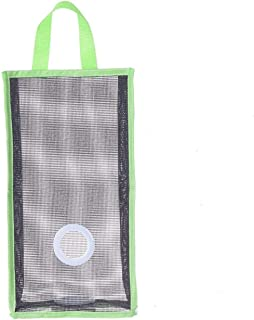 RKPM Wall Mount Plastic Bags Holder Hanging Grocery Bag Container Plastic Grocery Bag Saver Mesh Grocery Bag Dispenser for Kitchen Bathroom Office Green (Large Size : 48 X 20 X 10 cm)