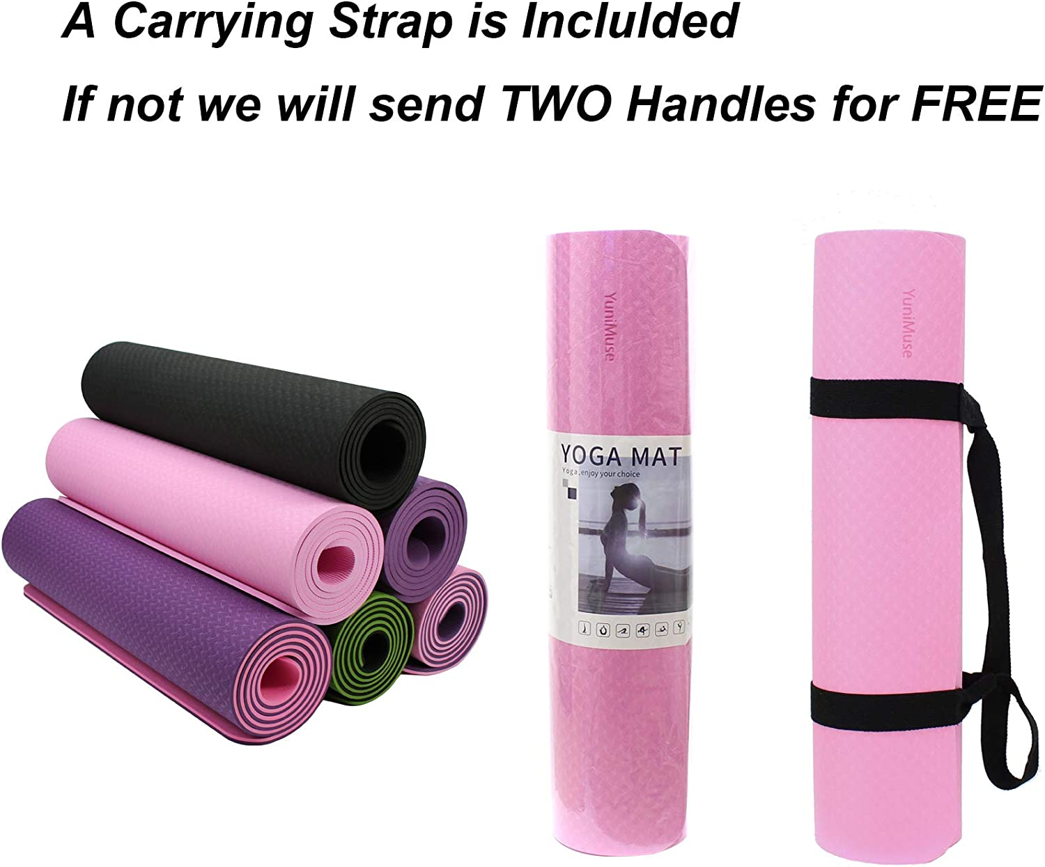 Non-Slip Workout Mat Yoga Mats with Carrying Strap YuniMuse Yoga Mat Exercise Mat Extra Thick 1//3/&1//4 72x 24 SGS Certified Eco Friendly TPE High Density Yoga Mat for Women Men Pilates