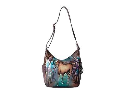 Anuschka Handbags 433 Classic Hobo With Studded Side Pockets (Free Spirit) Handbags