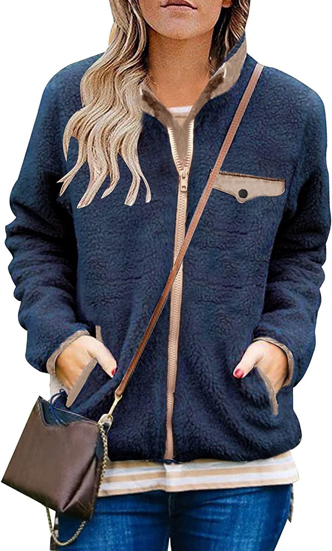 MEROKEETY Womens Long Sleeve Full Zip Sherpa Jackets Patchwork Fleece Coat with Zipper