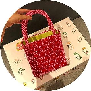 Pearls Bag Beaded Floral Box Totes Bag Vintage Women Party Flower Handbag Brand Red Green