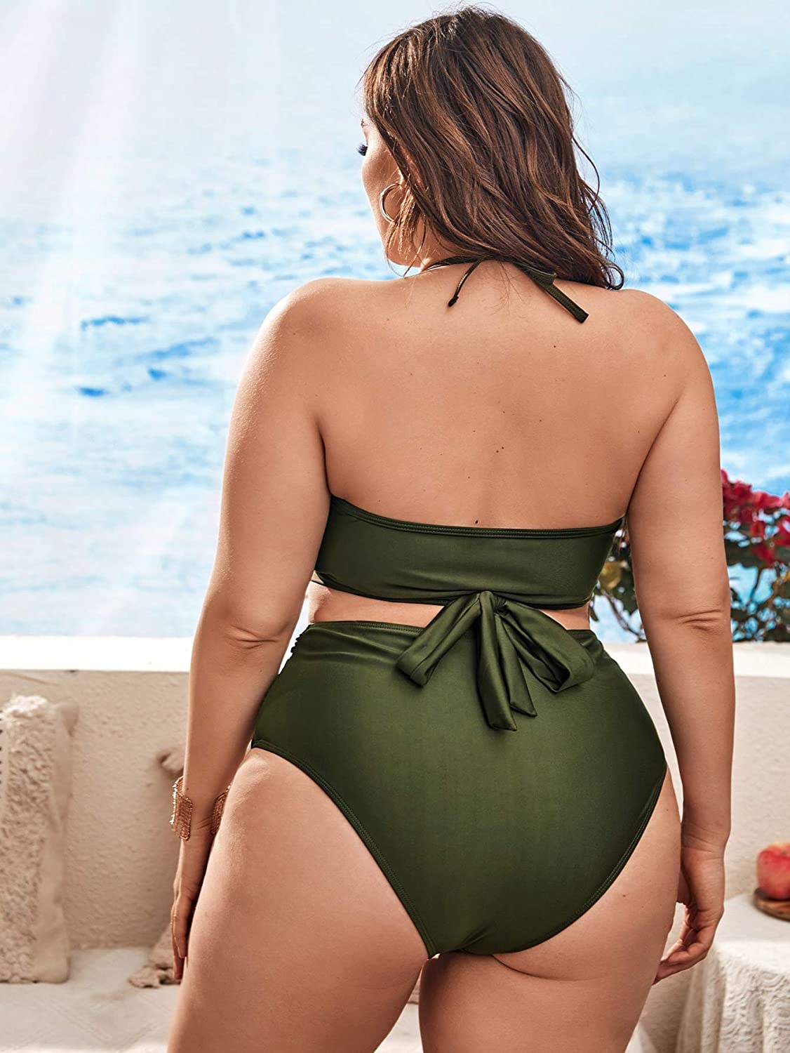 SOLY HUX Women's Plus Size Swimsuits V Neck Halter Tie Knot High Waisted Tummy Control 2 Pieces Bikini Bathing Suits