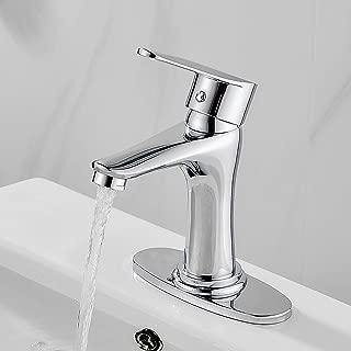 Modern Bathroom Faucet Chrome Single Handle Bathroom Vanity Single Hole Sink Faucet with Stainless Steel Deck