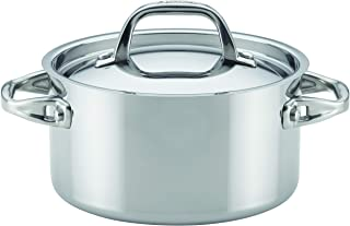 Anolon Advanced Stainless Steel Triply Sauce Pan/Saucepan with Lid, 3.5 Quart, Silver,31507