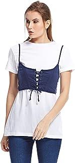 Brave Soul T-Shirt for Women - White & Blue