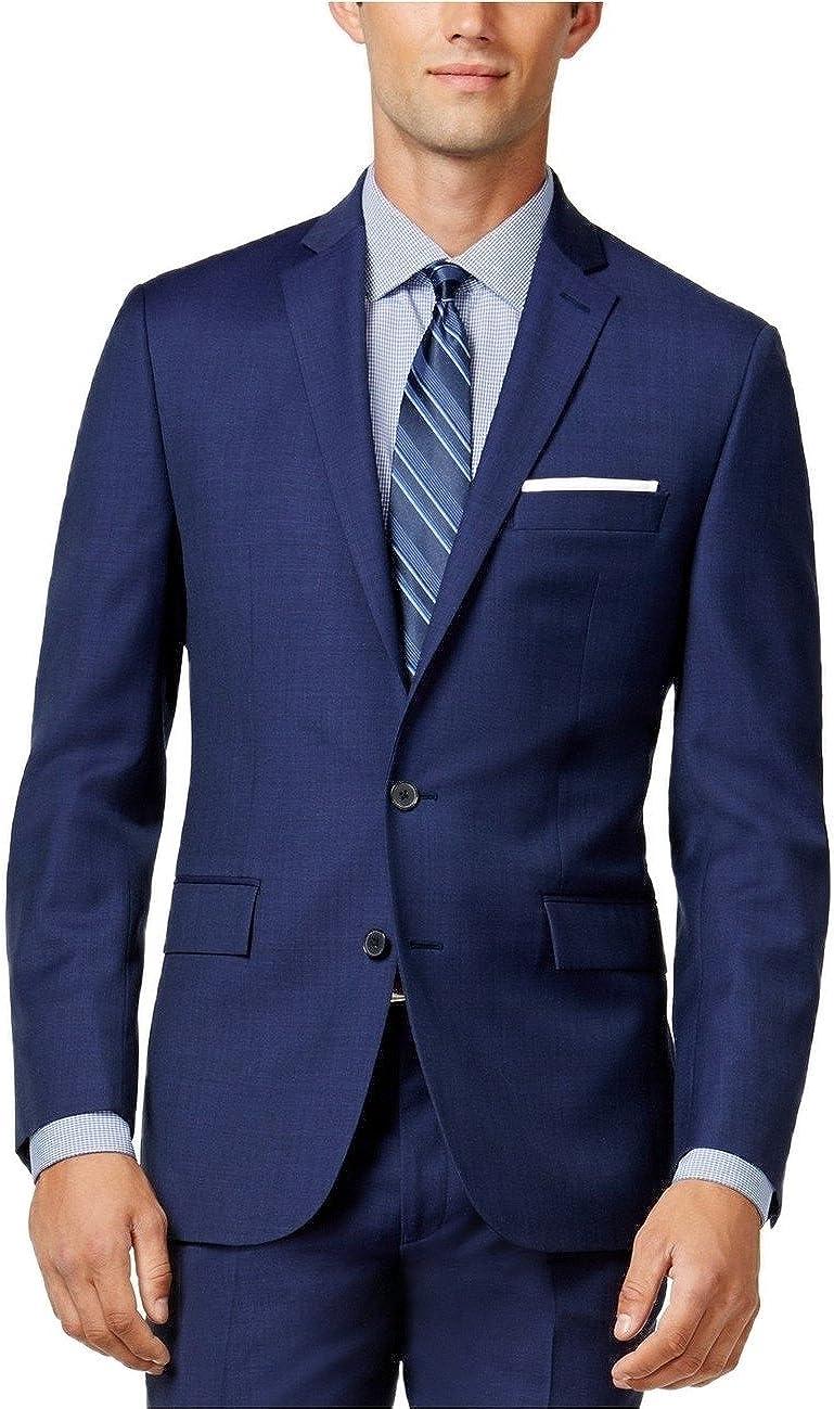 Ryan Seacrest Distinction Blue Sharkskin Two Button 100% Wool New Men's Sport Coat