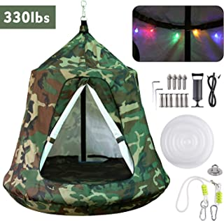 GARTIO Hanging Tree Tent, Swing Play House, Portable Hammock Chair, with LED Decoration Lights, Inflatable Cushion, Suit for Adult and Kids Indoor Outdoor, Max Capacity 330lbs (Camouflage)