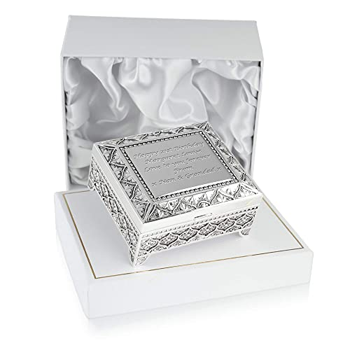 Girls 21st Birthday Gift Silver Plated Trinket Box In A Satin Lined