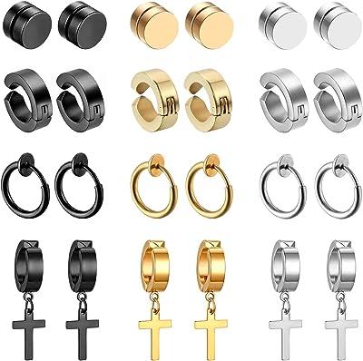 Set di 12 paia di orecchini, non piercing, a forma di croce, in acciaio inox, nero argento e oro