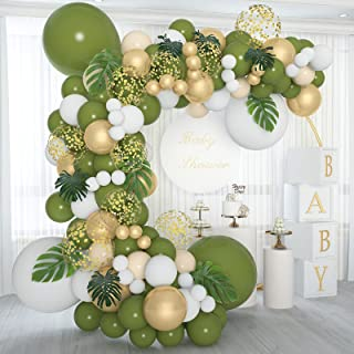 Soonlyn Olive Green Balloon Garland 140 Pcs 18In 12In 10In 5In with Large Leaves, Balloon Arch Kit for Baby Shower Bridal ...