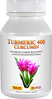 Andrew Lessman Turmeric 400-60 Capsules – 95% Curcuminoids as Phospholipid Complex for Optimum Benefits and Greater Absorption, High Potency Standardized Extract, Small Easy to Swallow Capsules