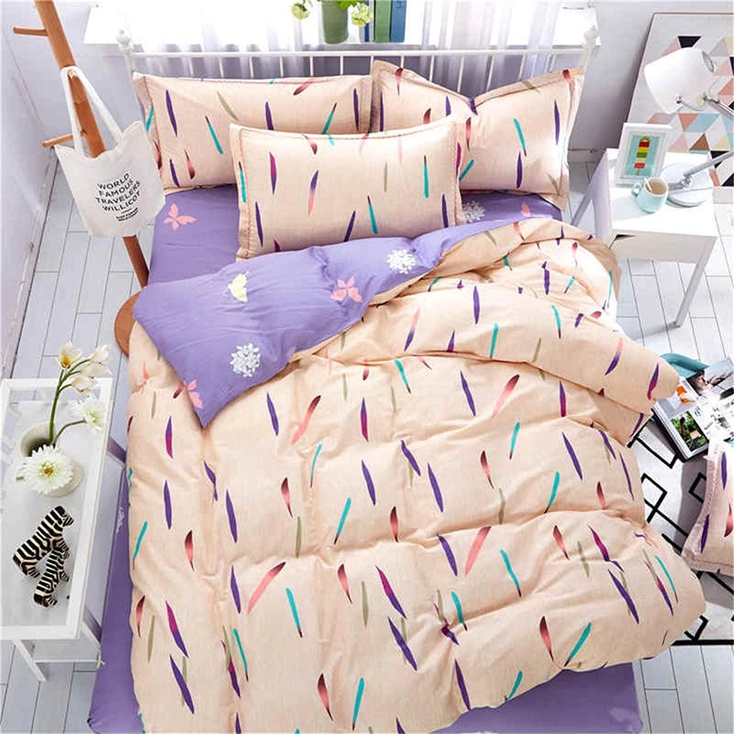 Auvoau Kids Bedding for Girls and Boys Cotton Duvet Cover Set Fox Bedding Cartoon Bedding Set 4 Piece (2, Twin)