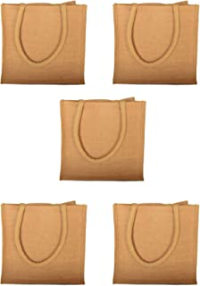 Natural Burlap Jute Tote Bags Reusable 18.1 L (Pack of 5) (Medium)