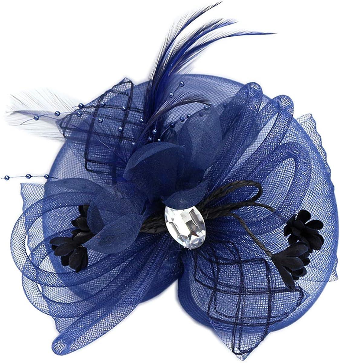 YSJOY Elegant Veil Mesh Tube Feather Fascinator Hat Sweet Flower Derby Hat