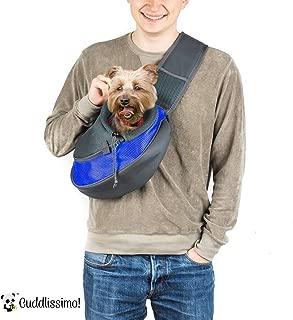 Cuddlissimo! Pet Sling Carrier - Small Dog Cat Sling Pet Carrier Bag Safe Reversible Comfortable Adjustable Pouch Single Shoulder Carry Tote Handbag for Pets Below 6lb