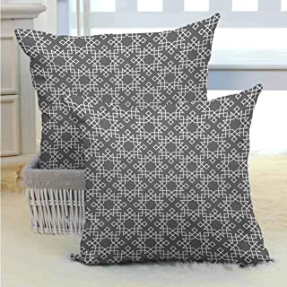 Polyester pillowcase Grey and White,Moroccan Star Pattern Arabesque Traditional Tile Symmetrical Motifs, Charcoal Grey White Silky Pillowcase Super Soft and Luxurious Pillowcase W24 x L24 inch x 2