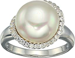 Rosa 12mm White Flat Pearl w/ CZ Ring On Sterling Silver