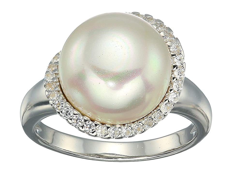 Majorica - Majorica Rosa 12mm White Flat Pearl w/ CZ Ring On Sterling Silver