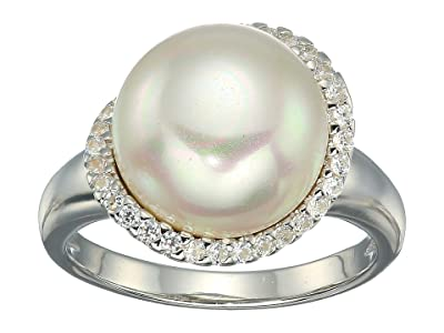 Majorica Rosa 12mm White Flat Pearl w/ CZ Ring On Sterling Silver (White) Ring