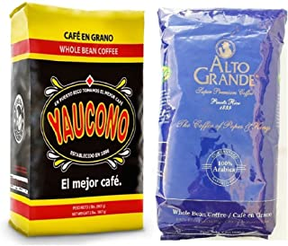 Cafe Yaucono Whole Bean Coffee and Alto Grande Whole Bean 2 Pounds Bag Each (1 Pack)
