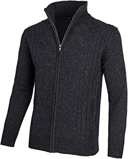 VOBOOM Mens Casual Stand Collar Cable Knitted Zip-up Cardigan Sweater Jacket