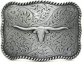 MASOP Longhorn Cattle Bull Head Texas Belt Buckle for Men Cowboy Accessory