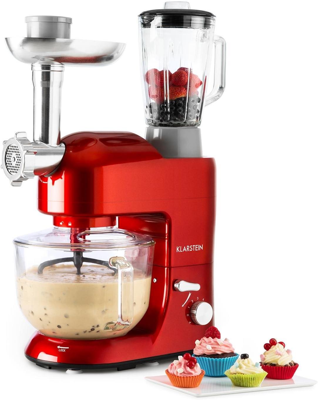 Klarstein Lucia Rossa 2G - Robot de cocina universal, Batidora, 1300 W, 5,2 Litros, Amasadora planetaria, Picadora de carne, Rodillo para pasta, Licuadora 1,5 Litros, 6 Velocidades, Rojo
