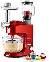 Klarstein Lucia Rossa 2G - Robot de cocina universal , Batidora , 1200 W , 5,2 Litros , Amasadora planetaria , Picadora de carne , Rodillo para pasta , Licuadora 1,5 Litros , 6 Velocidades , Rojo