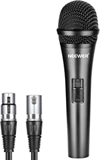Neewer Cardioid Dynamic Microphone with 3.5mm Male to XLR Female Cable, Rigid Metal Construction for Professional Musical Instrument Pickup, Vocals, Broadcasting, Speech, Black (NW-040)
