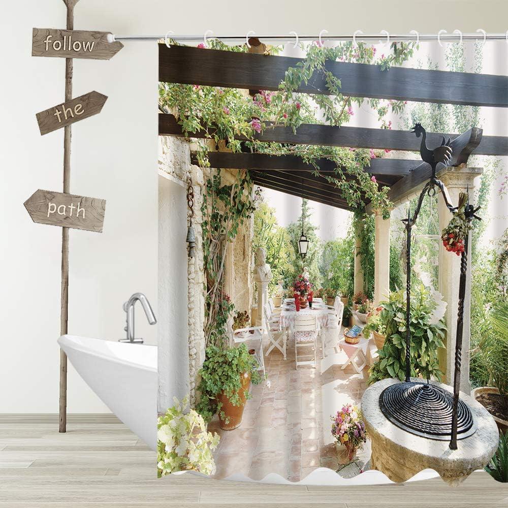 YUYASM European Fabric Shower Curtain Italian Town Garden Scenery Green Vines Plant Flower Decor Bathroom Bath Curtains with Plastic Hooks 70x70 Inch