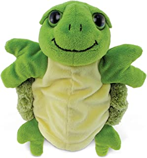 Puzzled Green Hand Puppet Big Eyes Sea Turtle Plush, 10 Inch Soft Stuffed Animal Educational Gloves That Talk Interactive ...