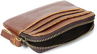 Men's Wallet Leather Coin Purse Vintage Crazy Horseskin Card Holder Short Zipper Wallet (Color : Orange, Size : S)