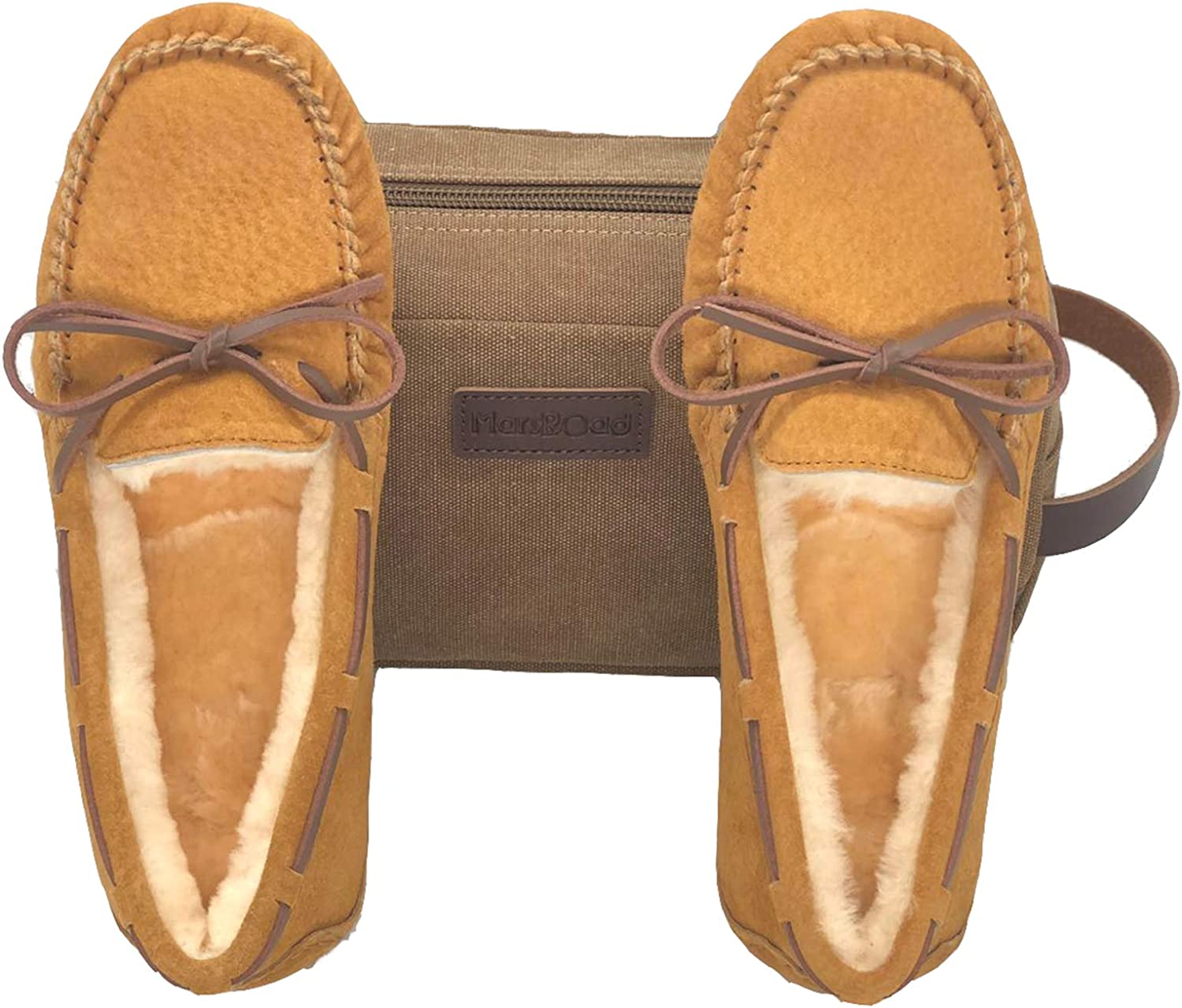 MarsRoad Woman's Sheepskin Moccasin, Aussie Shearling Victoria Moc Slippers with Tie and Wool Lining, Packed in a Toiletry Bag