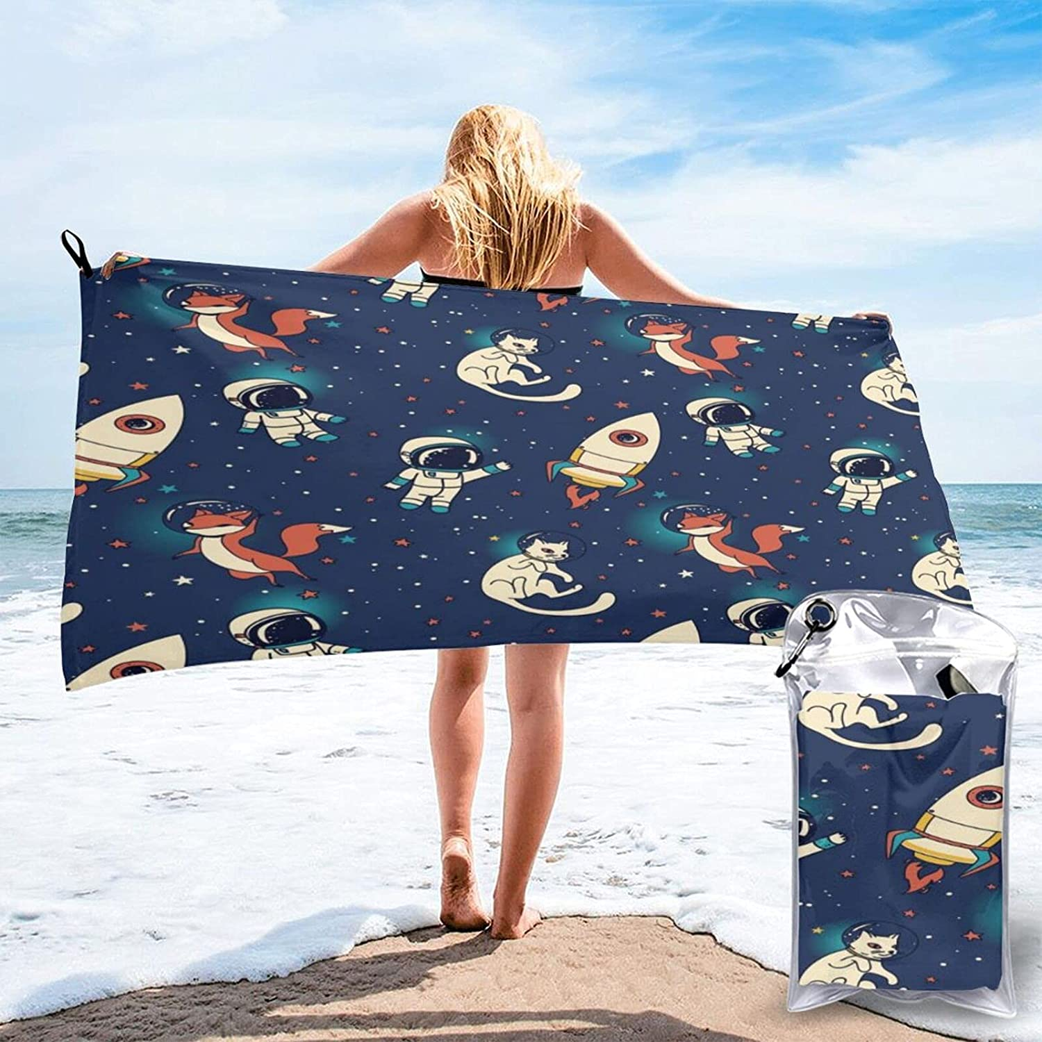 Cats Save money and Foxes in Space Ranking TOP17 Microfibre Beach Towels Quic Travel Pool