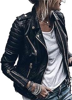 CORAFRITZ Chaqueta clásica de piel sintética para mujer, con bolsillos con cremallera, para mujer, de piel sintética, para...