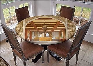 Mantel de mesa redonda con bordes elásticos, diseño tradicional en Doha Qatar Oriente Medio Oriental Landmark Hotel Camping de 71.12 cm de diámetro.
