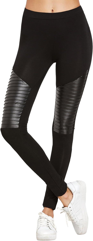SweatyRocks Women's Faux Leather Patch Insert High Rise Fitness Workout Leggings