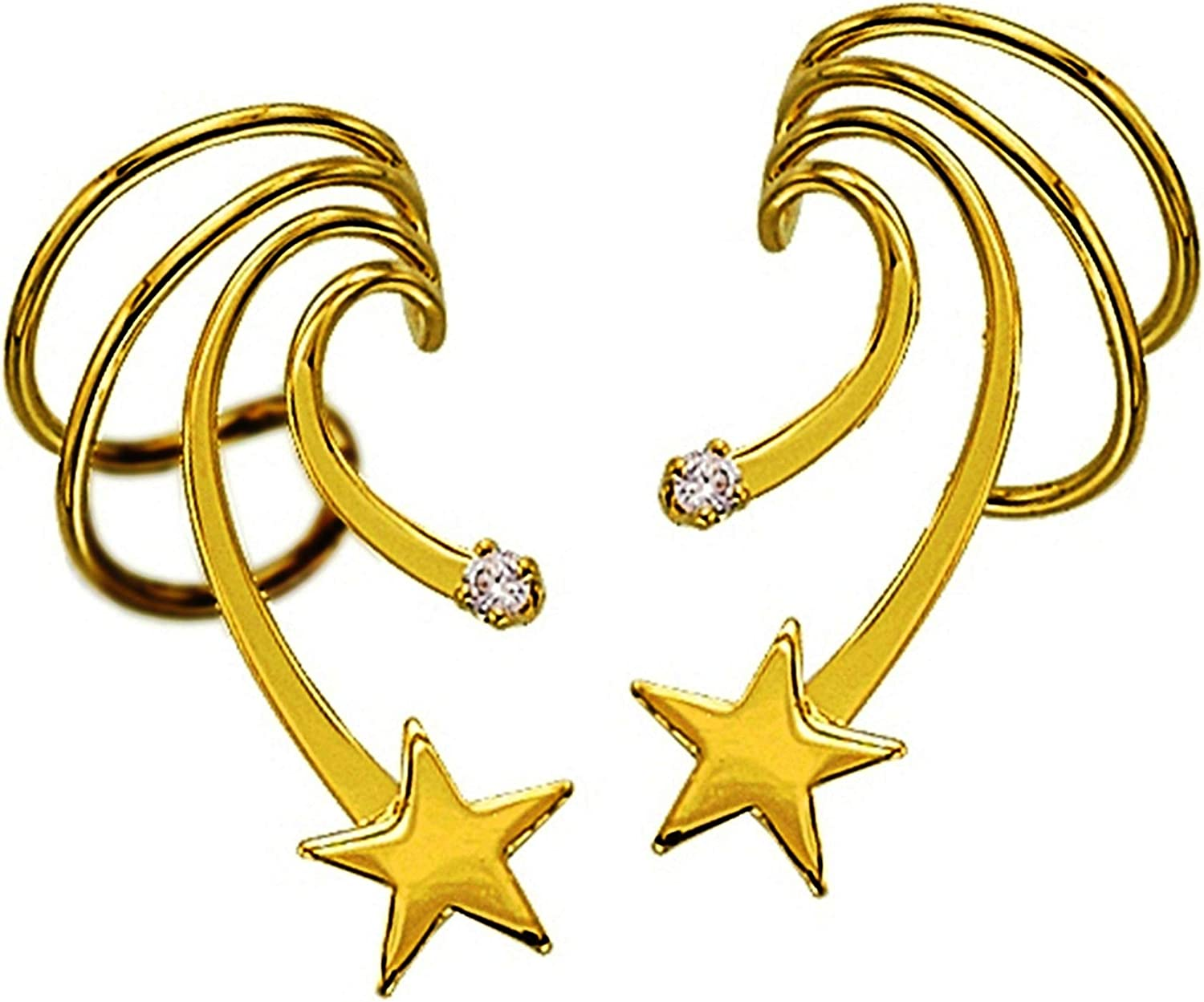 Ear Charms Cuff Star CZ Earring Non-Pierced Rapid rise Free shipping / New Wraps Short Wave