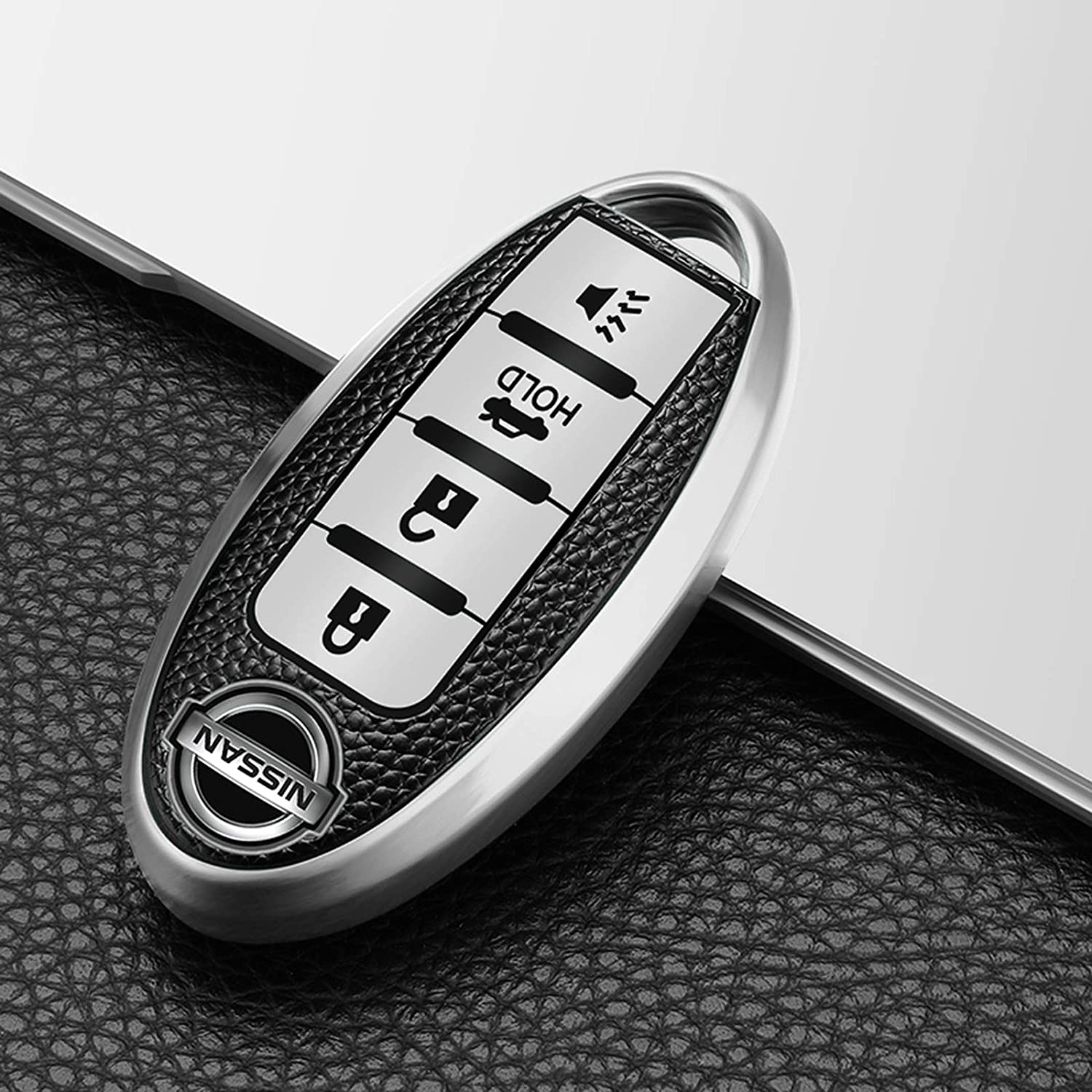 Trail Key Fob Cover Case Full Protector Premium TPU 4-Button Smart Keyless Entry Remote Jacket Skin Shell Latent Key Fob Fits for Nissan Sunny SYLPHY Murano X Silver