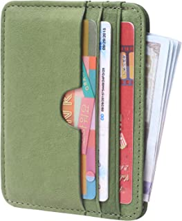 Leather Card Case Wallet Slim Super Thin Credit Card Holder 6 Card Slots Small Compact Wallets for Women & Men