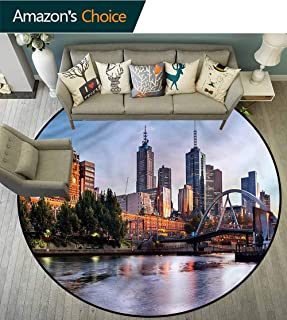 City Round Carpet Mat Indoor Morning Australia River 3D Printing Round Picnic Mat Diameter-63