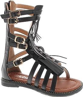 26b9ba3fde22 Link Savannah 3Ka Baby Girls Strappy Buckled Fringe Gladiator Flat Sandals