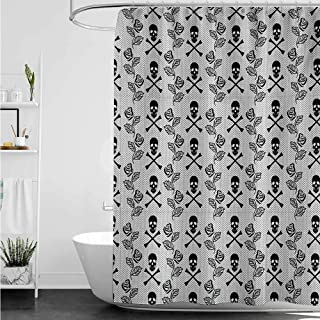 home1love Polyester Fabric Shower Curtain,Gothic Monochrome Lace Style Pattern with Romantic Vintage Roses and Skulls Crossbones,Metal Build,W72x72L,Black White