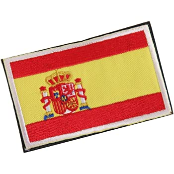 Ouken 1pc España Bandera Tela Insignia Parche Embroiderd No Coser 8 x 5cm: Amazon.es: Hogar
