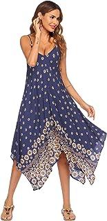 Chigant Women's V Neck Spaghetti Strap Maxi Dress Floral Print Beach Long Dresses Summer Swing Casual Dress